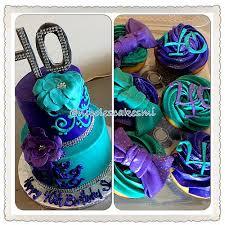 Teal and purple 40th Birthday cake and cupcakes nicolescakesmi buttercream teal purplecake