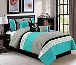 Amazon Modern 7 Piece QUEEN Bedding Aqua Blue Black Grey