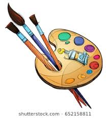 Artists Palette With Paints And Brushes Vector Illustration Isolated On White Background