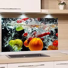 grazdesign spritzschutz glas für küche herd bild motiv früchte im wasser schwarz bunt küchenrückwand küchenspiegel glasrückwand 80x50cm