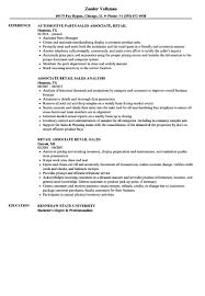 Retail Sales Representative Resume Sample Associate