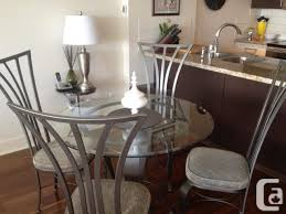 Unique Modern Dining Table And 4 Chairs Metal Glass