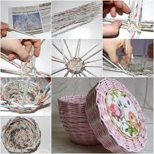 Creative Ideas Diy Cute Woven Paper Basket Using Newspaper Regarding Craft For Decoration Step By