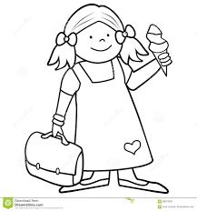 Girl And Schoobag Coloring Book Stock Vector
