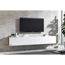 wuun tv board hängend lowboard eiche 160cm weiß matt