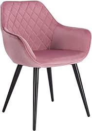 woltu esszimmerstühle bh153rs 1 1x küchenstuhl wohnzimmerstuhl polsterstuhl mit armlehen design stuhl samt metall rosa