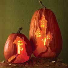 Halloween Pumpkin Coloring Ideas by Haunted House Carved Pumpkins Martha Stewart