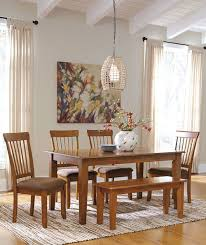 Dining Room Table 4 Upholstered Side Chairs Large Bench Image 1