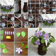 Diy Newspaper Jars And Beautiful Violet Flowers Tutorial Step By Within Craft Ideas For Decoration