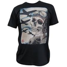 Mens Skull Pilot Bombers By 2 Cents Vintage Military Tattoo T Shirt