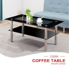 100 Living Room Table Modern Details About Black Rectangle Glass Metal Coffee With Lower Shelf