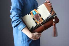 leather tassel bag southwestern wool and leather bag large