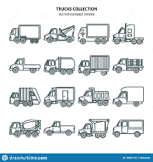 Truck Icons Set In Thin Line Style Stock Vector - Illustration Of ...
