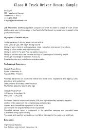 Sample Resume For Truck Driver Class B