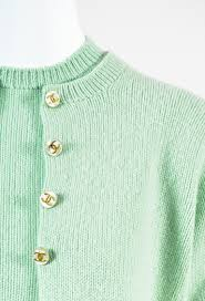 chanel light green knit button down cardigan sweater two piece set