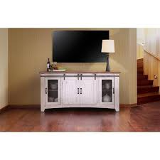 The Pueblo White Barn Door TV Stand Is A Rustic Media Center That Features Distinct Styling And Detailed Craftsmanship