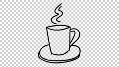 Hot Coffee Tea Cup Line Drawing Illustration Animation Trasnparent Background Stock Footage