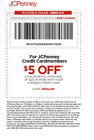 JCPenney Coupon: $5 Off $25 Salon Purchase For Cardholders ...