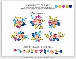 Spring Wedding Floral Clipart Watercolor Flower Designs