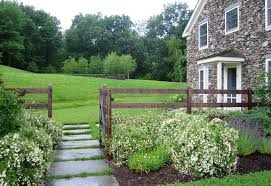 Rustic Ranch Fence Landscape Traditional With Grass Joints Lavendar Flowers Dry Laid Fieldstone Wall