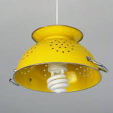 yellow strainer refurbished light fixture maybe with an