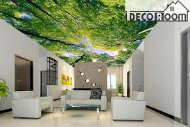 green tree ceiling 2 wall paper wall print decal wall deco indoor