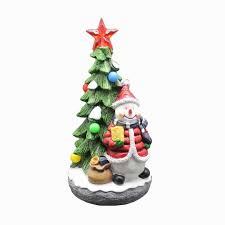 Personalised Hand Painted Resin Christmas Tree With Snowman And RGB Light Up Music Collectible Ornament