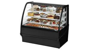 True TDM R 48 GE B W Black Curved Glass Refrigerated Bakery Display Case
