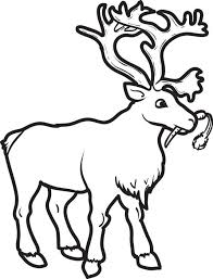 Winter Coloring Page For Kids Of A Reindeer Eating Carrot