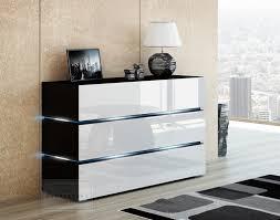 kommode shine sideboard 120 cm weiß hochglanz schwarz led beleuchtung modern design tv möbel anrichte sigma