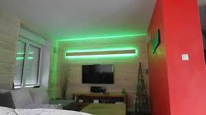 plafond tendu lumineux avec deport du ruban led
