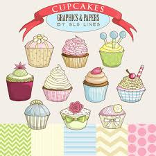 Cupcakes digital graphics set cupcake clipart pink blue and green DIY invitations and party cakes for showers SLS Lines mercial use from SLSLines on