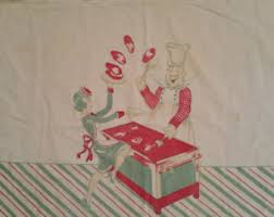 1940s Textile Vintage Cotton Wall Hanging Whimsical Cooking Chef And Waitress Design Pancakes Theme Kitchen