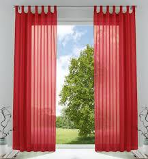 2er pack gardinen transparent vorhang set wohnzimmer voile schlaufenschal mit bleibandabschluß hxb 225x140 cm rot 61000cn