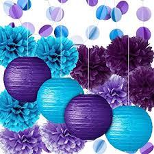 Party Decoration Kit Purple Blue Tissue Paper Pom Poms Flowers Papers Lanterns Circle Garland Birthday Wedding