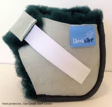 sheepskin heel protectors for the prevention of pressure sores on