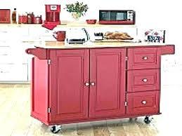 Red Microwave Cart Kitchen Utility Rolling Barrel Studio