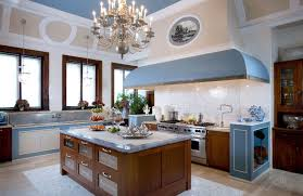 French Kitchen Style With Large Island And Rustic Range Hoods Using Marble Tile Backsplash Stainless Steel Countertops