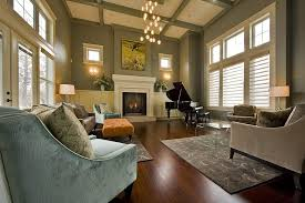 light blue paint living room transitional with built in storage in