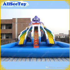 Commercial Inflatable Slide With Big Pool Giant Water
