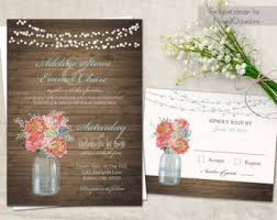 Mason Jar Wedding Invitations Rustic Kit RSVP Cards Barn Wood Country Summer Printable Coral