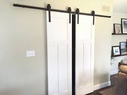 DOUBLE Sliding Barn Door Hardware Kit For TWO DOORS With 12 Feet ... Good Bypass Barn Door Hdware Kit Sliding For Closet Urban Top Mount Full Doors Looks Simple And Elegant Lowes Rebecca Best 25 Barn Door Hdware Ideas On Pinterest Design Ideas Home Interior Mmi 72 In X 80 Primed 15lite Double With 159 Best Doors Images Austin Bypass Everbilt Rollers Modern John Robinson House Decor 12ft Arrow Black Rolling Track