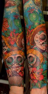 Mexican Skull Sea Sleeve Tattoo By Ace Of Sword