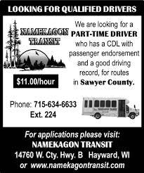 100 Part Time Trucking Jobs Driver Namekagon Transit Hayward WI