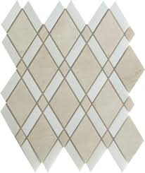 crema marfil harlequin pattern polished mosaic tile by soci