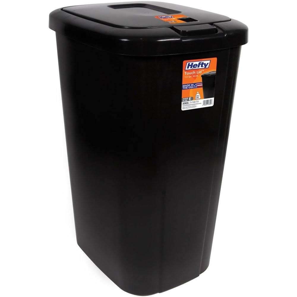 Hefty Touch-Lid 13.3-Gallon Trash Can - Black