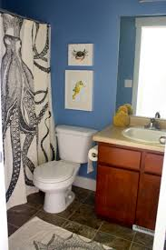Nautical Blue Accents Wall Painted Feat Amazing Bathroom Curtain