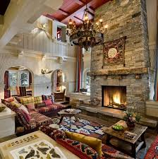Ultra Luxurious Rustic Styled Living Room Features Massive Two Story Stone Fireplace In An Area Packed