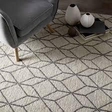 moderner handgewebter teppich mit geometrischem design in wolle für wohnzimmer geome
