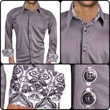 gray with white cuff dress shirts